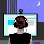 woman learning online against a night-sky background